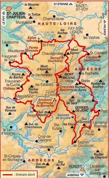 mont gerbier de jonc carte Tour of the massif Mézenc   Gerbier de Jonc   Randonnez en Haute