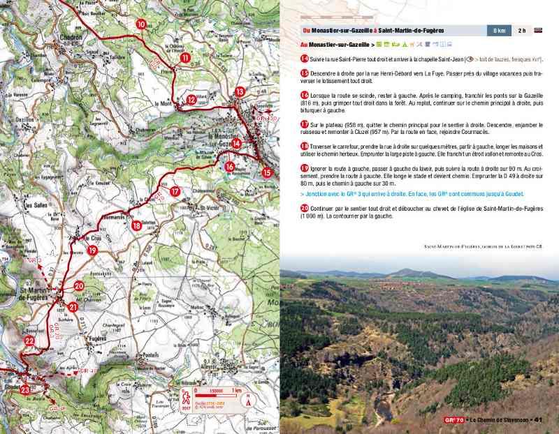 Carte détaillée du chemin de Stevenson et descriptif des étapes