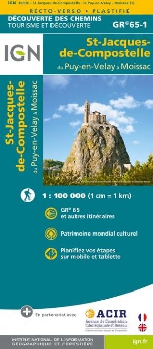Carte IGN Saint-Jacques-de-Compostelle Le Puy Moissac