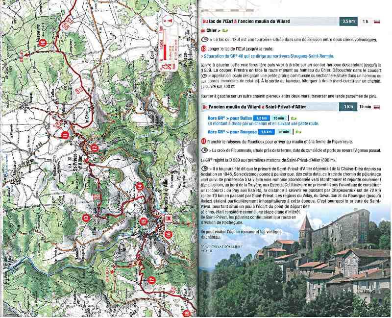 chemin de compostelle carte ign Way of Santiago de Compostela Le Puy Figeac GR 65   Haute Loire